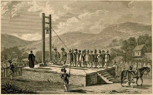 The Halifax Gibbet shown in an old drawing